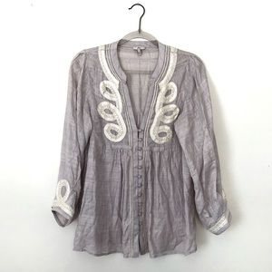 Joie Silk Embroidered Tunic Blouse